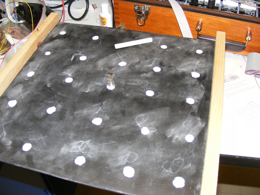 The game board, empty, with the detector and some chalk