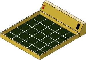 An isometric drawing of the game board, as planned at the start of the project
